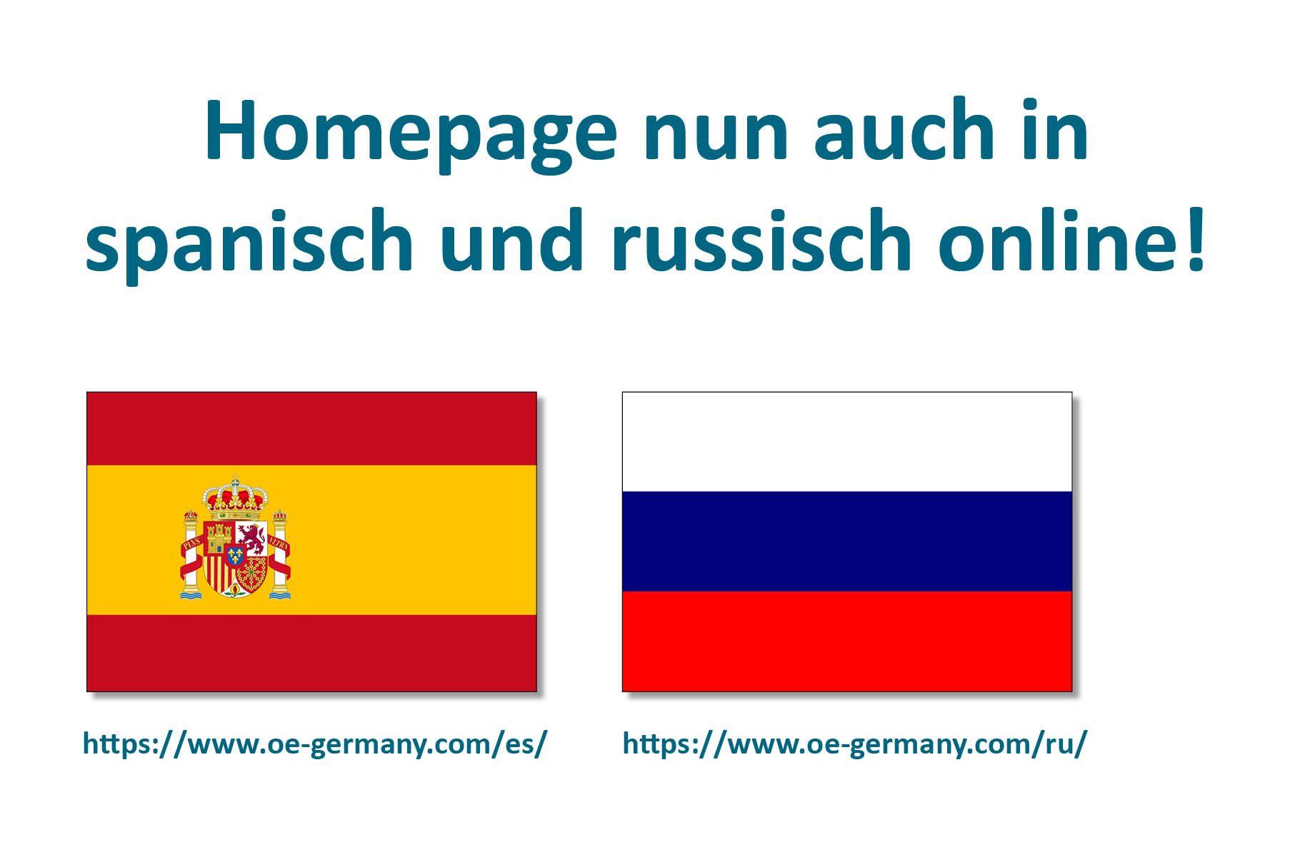Homepage nun auch in spanisch und russisch online!